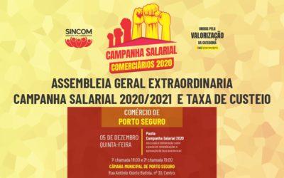 PORTO E CABRÁLIA: ASSEMBLEIA GERAL EXTRAORDINÁRIA CAMPANHA SALARIAL 2020/2021  E TAXA DE CUSTEIO