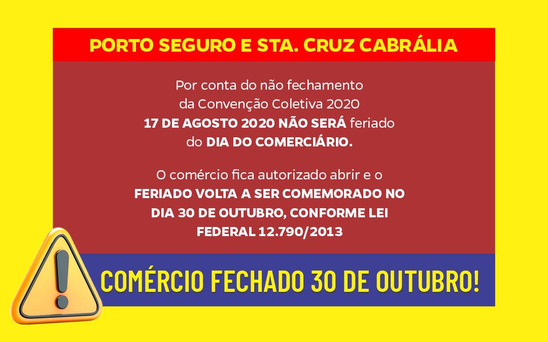 COMÉRCIO FECHADO 30 DE OUTUBRO!